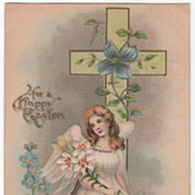 Easter Vintage Postcard For a Happy Easter Angel Seated beneath a Cross