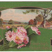 Greetings Vintage Postcard Friendship's Remembrance Country Scene Art Nouveau