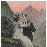 People Vintage Postcard Lovers Engaged in Passionate Kiss Alpine Scenery