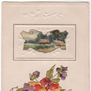 Greetings Vintage Postcard Sincere Greetings Art Nouveau Framed Scene Pansies