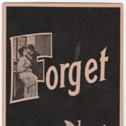 Greetings Vintage Postcard Forget Me Not Couple in Passionate Embrace