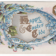 Easter Vintage Postcard Happy Easter Tide Cracked Egg Small Blue Flowers