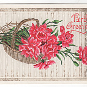 Greetings Vintage Postcard Birthday Greetings Pink Flowers in a Basket