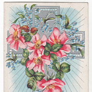 Easter Vintage Postcard Happy Easter Silver Cross Pink Roses Blue Flowers
