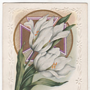 Easter Vintage Postcard May Easter Joys Be Thine Easter Lilies Cross