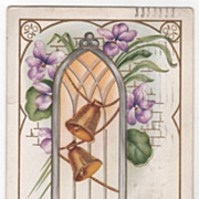 Easter Vintage Postcard Chime on Ye Merry Easter Bells Golden Bells Violets