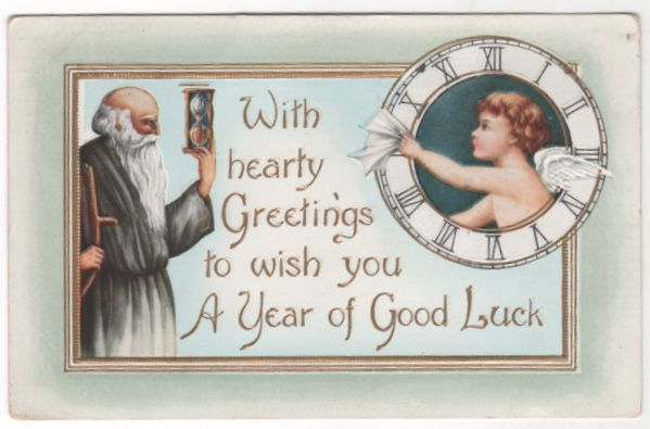 New Year Vintage Postcard With Hearty Greetings Father Time New Babe