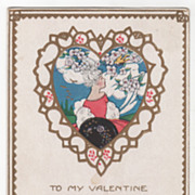 Valentine Vintage Postcard To My Valentine Young Lady Framed in a Heart