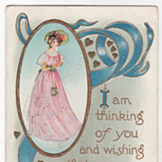 Valentine Vintage Postcard Gold Hearts Young Woman in a Pink Dress