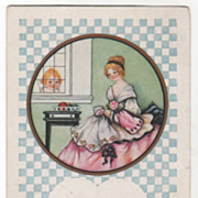 Valentine Vintage Postcard Cupid Watching a Young Woman Sewing