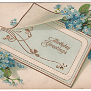 Greetings Vintage Postcard Birthday Greetings Note Card Small Blue Flowers