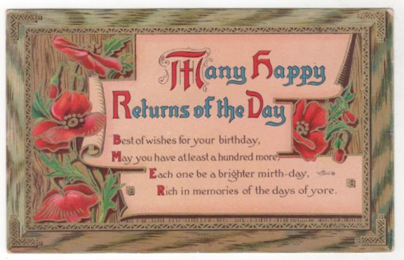 Greetings Vintage Postcard Birthday Red Flowers and Greenery