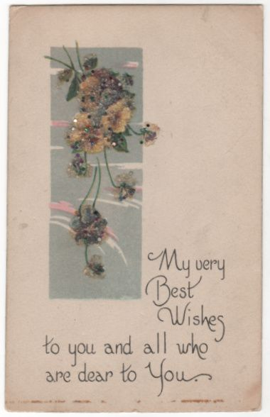 Greetings Vintage Postcard Best Wishes Yellow Flowers