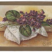 Greetings Vintage Postcard Birthday Greetings Purple Flowers on Lace Cloth