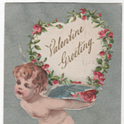 Valentine Vintage Postcard Valentine Greeting Cupid Carrying a Heart