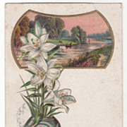 Greetings Vintage Postcard Birthday Greetings White Lilies Country Waterway