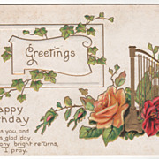 Greetings Vintage Postcard Greetings for a Happy Birthday Harp Roses Ivy