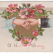 Greetings Vintage Postcard A Kind Greeting Couple Holding Hands Pink Roses