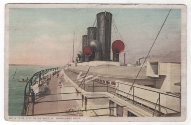 Steamer City of Detroit III Hurricane Deck Vintage Postcard