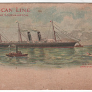 American Line S S Philadelphia Arriving at New York NY Vintage Postcard