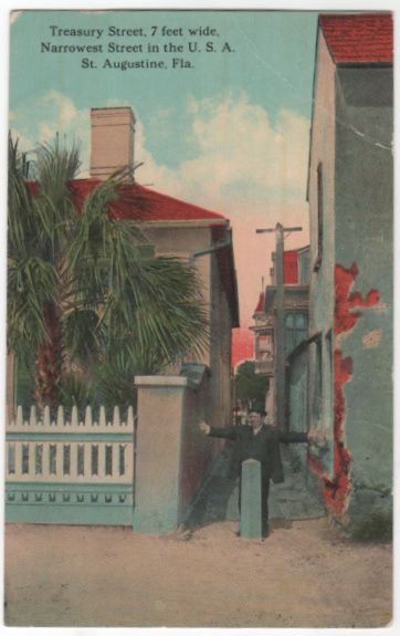 Treasury Street Narrowest Street in U S A St Augustine FL Florida Vintage Postcard