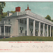 Home of Washington Mt Vernon VA Virginia Vintage Postcard