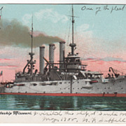 U S Battleship Missouri Vintage Postcard