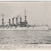 U S Armored Cruiser Tennessee Vintage Postcard