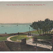 View Sebastian River from Fort Marion St Augustine FL Florida Vintage Postcard
