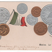 Mexican Flag and Various Mexican Coins Vintage Postcard
