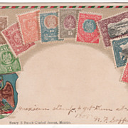 Mexican Seal and Various Mexican Stamps Vintage Postcard