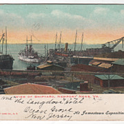 View of Shipyard Newport News VA Virginia Vintage Postcard - At Jamestown Exposition