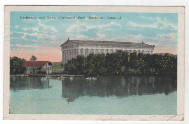 Parthenon and Lake Centennial Park Nashville TN Tennessee Vintage Postcard