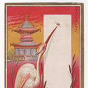 Crested Bird Cattails Japanese Lantern No Product Victorian Trade Card