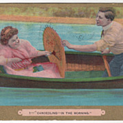 Comic Courting Couple Canoedling in a Canoe - 1908 Vintage Postcard
