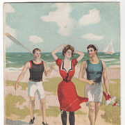 Sports Vintage Postcard - In Swimming Suits at the Beach