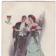 Artist Signed Vintage Postcard J V McFall Am Beauties Couple in Formal Dress