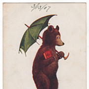 Artist Signed Wall Vintage Postcard Sunday This Little Bear Goes to Church