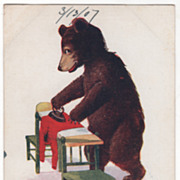 Artist Signed Wall Vintage Postcard Tuesday This Little Bear Irons Clothes