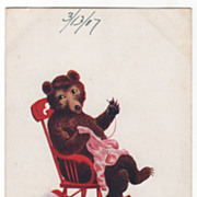 Artist Signed Wall Vintage Postcard Wednesday This Little Bear Mends Clothes