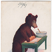 Artist Signed Wall Vintage Postcard Thursday This Little Bear Bakes Pies