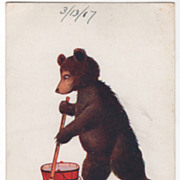 Artist Signed Wall Vintage Postcard Friday This Little Bear Cleans House