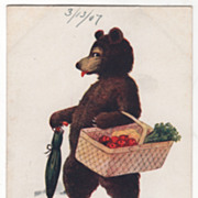 Artist Signed Wall Vintage Postcard Saturday This Little Bear Goes to Market