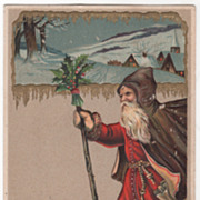 European Style Santa in Red and Brown A Merry Christmas Vintage Postcard