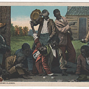 Black Americana Blacks Playing Craps &quot;Seben Come Eleben&quot; Vintage Postcard