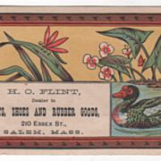 H O Flint Boots Shoes and Rubber Goods Salem MA Victorian Trade Card