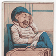 Young Man with Suitcase Asleep in a Train Car Victorian Trade Card
