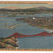 San Francisco CA California from the Pacific Golden Gate G G Bridge Business District Vintage