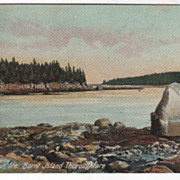 Isle au Haut ME Maine Burnt Island Thoroughfare Vintage Postcard
