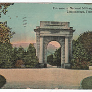 Entrance to National Military Cemetery Chattanooga TN Tennessee Vintage Postcard